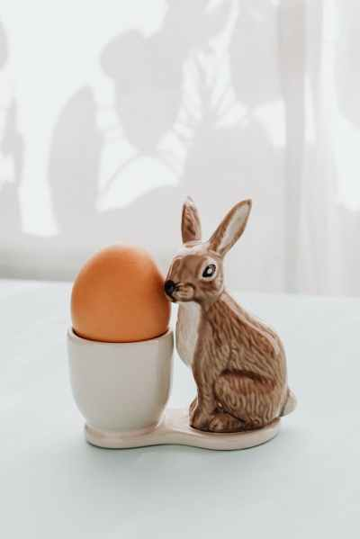 egg and ceramic rabbit